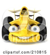 Royalty Free RF Clipart Illustration Of A 3d Yellow Formula One Taxi Car Facing Front