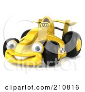 Royalty Free RF Clipart Illustration Of A 3d Yellow Formula One Taxi Car Slightly Left by Julos