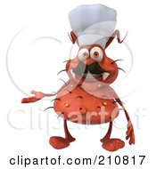 Royalty Free RF Clipart Illustration Of A 3d Rodney Germ Chef Smiling And Gesturing