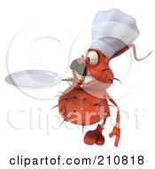 Royalty Free RF Clipart Illustration Of A 3d Rodney Germ Chef Holding A Plate