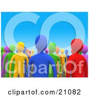 Clipart Illustration Of A Crowd Of Colorful Diverse People Standing Up For Their Rights In Their Community