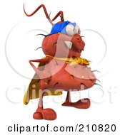 Royalty Free RF Clipart Illustration Of A 3d Rodney Germ Character Super Hero Facing Right