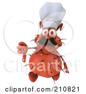 Royalty Free RF Clipart Illustration Of A 3d Rodney Germ Chef Looking Up And Holding A Thumb Down