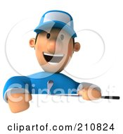 Royalty Free RF Clipart Illustration Of A 3d Golfer Toon Guy Holding A Club Over A Sign Board