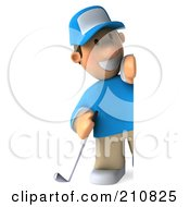 Royalty Free RF Clipart Illustration Of A 3d Golfer Toon Guy Smiling And Looking Around A Blank Sign