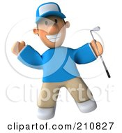 Royalty Free RF Clipart Illustration Of A 3d Golfer Toon Guy Facing Front And Jumping With A Club