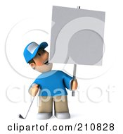 Royalty Free RF Clipart Illustration Of A 3d Golfer Toon Guy Smiling Up At A Blank Sign On A Post