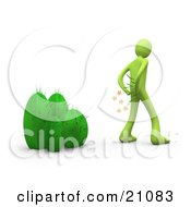 Clipart Illustration Of A Green Man Pulling Needles Out Of His Butt After Sitting On A Cactus Plant