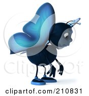 Royalty Free RF Clipart Illustration Of A 3d Blue Butterfly Facing Right And Pouting