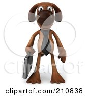 3d Brown Pooch Business Dog Facing Front And Carrying A Briefcase