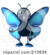 Royalty Free RF Clipart Illustration Of A 3d Blue Butterfly Facing Front And Gesturing