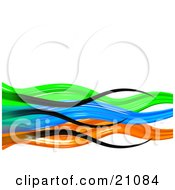 Vibrant Colorful Background Of Black Green Blue And Orange Waves Over White