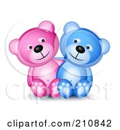 Royalty Free RF Clipart Illustration Of A Happy Blue And Pink Teddy Bear Couple Sitting Together by Oligo