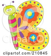 Royalty Free RF Clipart Illustration Of A Colorful Butterfly With Its Wings Shaping The Letter B