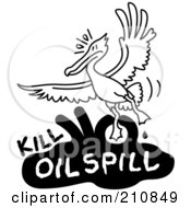Royalty Free RF Clipart Illustration Of A Bird Flying Over Kill Oil Spill Text