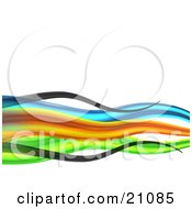 Clipart Illustration Of A Vibrant Colorful Background Of Black Blue Orange And Green Waves Over White