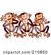 Royalty Free RF Clipart Illustration Of Goofy Three Wise Monkeys