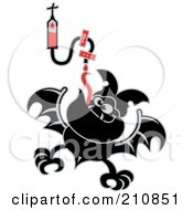 Royalty Free RF Clipart Illustration Of A Thisty Vampire Bat Sucking Blood From An IV by Zooco