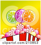 Royalty Free RF Clipart Illustration Of A Container Of Peppermint Swirls Bubble Gum And Lolipop Candies by elaineitalia