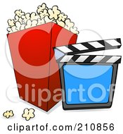 Royalty Free RF Clipart Illustration Of A Clapperboard Resting Against A Container Of Movie Popcorn On A White Background