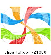 Clipart Illustration Of A Vibrant Colorful Background Of Orange Red Blue And Green Lines Waving And Crossing Over White