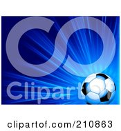 Royalty Free RF Clipart Illustration Of A Shiny Soccer Ball Over A Bursting Blue Background by elaineitalia