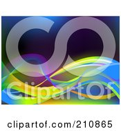 Royalty Free RF Clipart Illustration Of A Background Of Solid And Mesh Colorful Neon Waves by elaineitalia