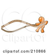 Orange Man Design Mascot Struggling With Ropes