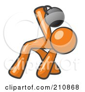 Royalty Free RF Clipart Illustration Of An Orange Man Design Mascot Bent Over And Working Out With A Kettlebell