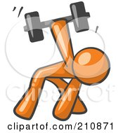 Royalty Free RF Clipart Illustration Of An Orange Man Design Mascot Bent Over And Working Out With A Dumbbell