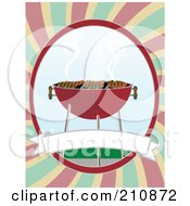 Royalty Free RF Clipart Illustration Of Meat And Hot Dogs Grilling On A Bbq With A Blank Banner On A Colorful Background by mheld