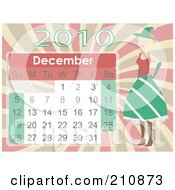 Royalty Free RF Clipart Illustration Of A Female Elf Standing By A December 2010 Month Calendar