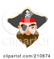 Royalty Free RF Clipart Illustration Of A Male Pirate Face With An Eye Patch by mheld
