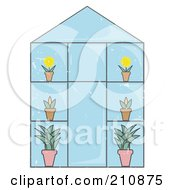 Glass Greenhouse With Potted Plants And Flowers
