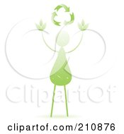 Royalty Free RF Clipart Illustration Of A Green Leaf Person Reaching For Recycle Arrows
