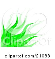 Clipart Illustration Of A Vibrant Background Of Green Leaves Waving Over White