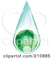 Royalty Free RF Clipart Illustration Of A Green European Globe Inside A Rain Drop by tdoes