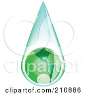 Royalty Free RF Clipart Illustration Of A Green American Globe Inside A Rain Drop