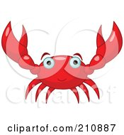 Royalty Free RF Clipart Illustration Of A Cute Red Crab Holding Up Both Arms by Pushkin