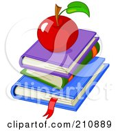 Royalty Free RF Clipart Illustration Of A Shiny Red Apple On Top Of A Stack Of School Text Books by Pushkin