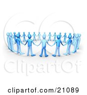 Clipart Illustration Of A Group Of Blue People Holding Hands And Facing The Center Of A Circle Symbolizing Support And Teamwork