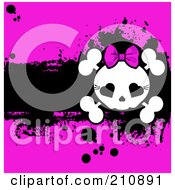 Royalty Free RF Clipart Illustration Of A Cute Girly Skull And Cross Bones Over A Grungy Black And Pink Background by Pushkin