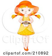 Royalty Free RF Clipart Illustration Of A Cute Summer Girl Holding A Butterfly In Her Hands