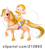 Blond Girl Smiling And Riding A Cute Pony