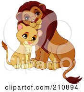 Royalty Free RF Clipart Illustration Of A Cute Cub Cuddling With A Father Lion
