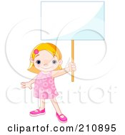 Royalty Free RF Clipart Illustration Of A Cute Toddler Girl Proudly Holding Out A Blank Sign