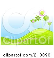 Hilly Landscape Background With Green And Pink Flowers