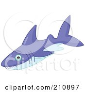 Royalty Free RF Clipart Illustration Of A Purple Shark With Pointed Teeth by Pushkin