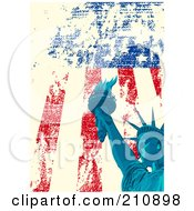 Royalty Free RF Clipart Illustration Of An American Grunge Background Of A Blue Statue Of Liberty Over A Distressed Flag by Pushkin