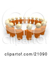 Clipart Illustration Of A Group Of Orange People Standing In A Circle Of Support